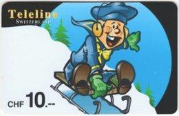 SWITZERLAND D-070 Prepaid Teleline - Cartoon, Winter - Used - Schweiz