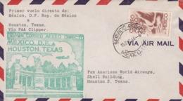 PRIMER VUELO DIRECTO MEXICO D.F. - HOUSTON, TEXAS. FIRST FLIGHT MEXICO 1946, AIR MAIL -LILHU - Mexiko