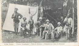 A P 482 -  C P A -  AFRIQUE -  CONGO FRANCAIS    VERS LE TCHAD  CAMPEMENT DANS LA BROUSSE - French Congo - Other