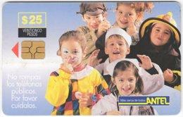 URUGUAY A-210 Chip Antel - People, Children - Used - Uruguay