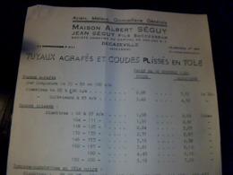 Publicité  Albert Séguy Tuyaux Agrafés Et Coudes Plissés En Tole à Decazeville 1960 - Pubblicitari