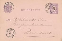Nederland - 1883 - 2,5 Cent Cijfer, Briefkaart Van KR Zwijndrecht Naar KR BARENDRECHT - Poststempels/ Marcofilie
