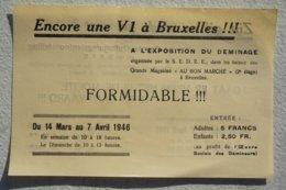 BELGIQUE Bruxelles Brussel Guerre Exposition V1 à Bruxelles 1946 V Bomb Bombe Volante Luftwaffe ? - Vieux Papiers