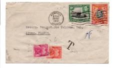 KENYA UGANDA LETTRE DE KAMPALA POUR LA FRANCE 1951 TAXEE A L'ARRIVEE - Kenya, Ouganda & Tanganyika