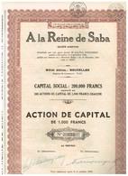 Titre Ancien - A La Reine De Saba - Société Anonyme - Titre De 1934 - Titre N° 025 - Tourisme