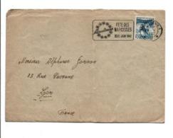 SUISSE OBLITERATION MECANIQUE FETE DES NARCISSES A MONTREUX SUR LETTRE POUR LA FRANCE 1947 - Schweiz