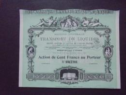 FRANCE - PARIS 1933 - STE DE TANSPORT DE LIQUIDES - ACTION DE 100 FRS - BELLE ILLUSTRATION - Aandelen