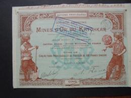 RUSSIE - BELGIQUE, BRUXELLES 1897 - MINES D'OR DU KATCHKAR - TITRE DE 5 ACTIONS PRIVILEGIEES DDE 100 FRS - BELLE DECO - Azioni & Titoli