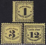 GERMAN STATES BADEN 1862 Postage Due Set Of 3v MH Unif. 1/3 - Bade