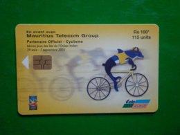 Télécarte Maurice, 6ème Jeux Des Iles De L'océan Indien, 50 000ex , Aout 2003, 115 Unités,  Utilisé, Traces - Mauritius