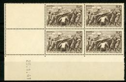 """N° 497 ** (MNH). Cote 17.5 €. Coin Daté Du 25/1/41 / Bloc De Quatre """"Au Profit Du Secours National"""". - 1940-1949"""