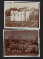 Conjunto 2 Fotografias Antigas FIGUEIRA Da FOZ: Grupo No Areal E Calçada. SET 2 Old Real Photo (Coimbra) 1900 PORTUGAL - Fotos