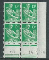 France N° 1115A  XX Type Moissonneuse : 10 Vert En Bloc De 4 Coin Daté Du 15 . 1 . 59  1 Point Blanc Sans Charnière, TB - 1950-1959