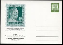 Bund PP24 D2/002a PFARRER GUSTAV WERNER Reutlingen 1961  NGK 10,00 € - Briefmarken Auf Briefmarken
