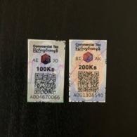 Myanmar (2019) New Commercial Tax Stickers QR Code 100 200 Kyats II - Myanmar (Burma 1948-...)