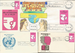 J) 1975 MEXICO, INTERNATIONAL YEAR OF WOMEN, SET OF 3 FDC AND 1 GUTEMBERG POSTCARD - Mexiko