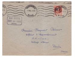 France Guerre 1939 1945 Timbre De La Libération Sur Lettre Cachet Oblitération Chalons Sur Marne Octobre 1944 - Guerre De 1939-45