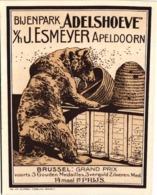 1 Reklamekaart Bijenpark Adelshoeve Esmeyer Apeldoorn Honing Bienenstock Bruine Beer Korf Korven Litho Ebeling Abeille - Andere