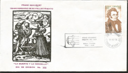 J) 1978 MEXICO, 150 ANNIVERSARY OF THE DEATH OF FRANZ SCHUBERT, DEATH AND THE DONCELLA, FDC - Mexiko