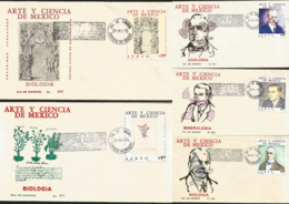 J) 1975 MEXICO, ART AND SCIENCE OF MEXICO, ZOOLOGY, BIOLOGY, MINERALOGY, SET OF 5 FDC - Mexiko
