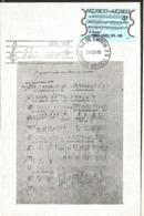 J) 1976 MEXICO, PABLO CASALS, VIOLINIST, MUSICAL NOTES, GUTEMBERG POSTCARD - Mexiko