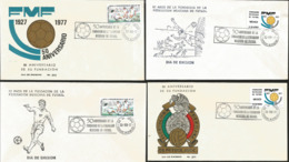 J) 1977 MEXICO, 50th ANNIVERSARY OF THE FOUNDATION OF THE MEXICAN FEDERATION OF FOOTBALL, SET OF 4 FDC - Mexiko
