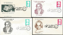 J) 1977 MEXICO, 150 ANNIVERSARY OF THE DEATH OF BEETHOVEN, SET OF 4 FDC - Mexiko