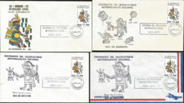 J) 1977 MEXICO, CENTENARY OF THE CENTRAL METEOROLOGICAL OBSERVATORY, TLALOC, SET OF 4 FDC - Mexiko