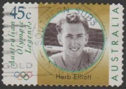 AUSTRALIA - DIE-CUT-USED 1998 45c Olympic Legends - Herb Elliott - Face - 1990-99 Elizabeth II