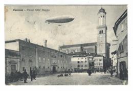 1260 - CORMONS GORIZIA PIAZZA XXIV MAGGIO ANIMATISSIMA DIRIGIBILE AIRSHIP 1916 - Gorizia