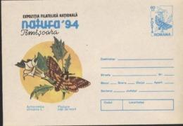 Papillon ACHERONTIA ATROPOS L.    Entier Postal - Roumanie / Romania 1994 - Papillons