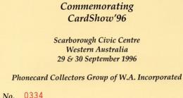 AUSTRALIA, 1996 WA CARDSHOW PHONECARD AND POSTCARD PACK - Australie
