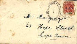 1901- Cover Fr. 1 Penny  Surcharge E.R.I  With  Johanesbourg  Censor To Cape Town - New Republic (1886-1887)