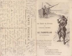 F21- THEODORE BOTREL - CHANSONNIER - ( LES CHANTS DU BIVOUAC , LE PAIMPOLAIS ) - CARTE DOUBLE - GUERRE 14/18 - 2 SCANS - Guerre 1914-18