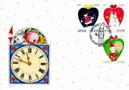Latvia Lettland 2019 Christmas ,Weihnachten Noël ,Mouse , Snowmen , Gnome , ROSES, CLOCK FDC - Christmas