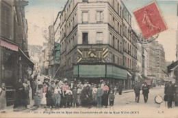 G3-75) PARIS (XX°) ANGLES DE LA RUE DES COURONNES ET DE LA RUE VILIN  - (TRES ANIMEE - COULEURS) - District 20