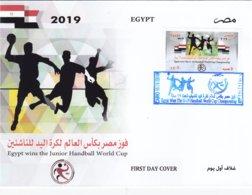 Egypt New Issue 2019,Egypt Win Handball 1v. On Official FDC - Cpl.set ( No Paypal & No Skrill ) - Egypt