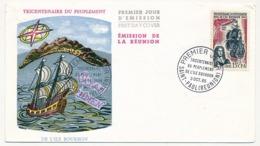 RÉUNION - Enveloppe FDC - 15F CFA - Tricentenaire Du Peuplement De L'Ile Bourbon - 3 Octobre 1965 - Covers & Documents