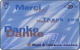 """TWK Österreich Werbekarte: """"Merci - Danke"""" Gebr. - Autriche"""