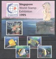 C380 !!! LAST ONE IN STOCK !!! TOKELAU FISH & MARINE LIFE SINGAPORE STAMP EXHIBITION 1995 1SET+1BL MNH - Vita Acquatica