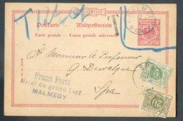 EP Allemand Type Aigle 10pfg, Obl; Sc MALMEDY (canton De L'Est) 13 ,sept. 1904 Vers Spa (vignette Non Valable Et Entouré - Enteros Postales
