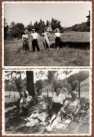 2 Cartes Photos Originales D'une Famille De 2 Couples En Promenade Champêtre & Chapeaux De Paille - Clocher & Prairie - Personas Anónimos