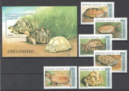 A474 1996 REPUBLIQUE TOGOLAISE FAUNA TURTLES CHELONIENS 1SET+1BL MNH - Schildpadden