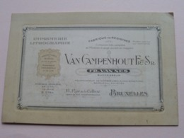 Van CAMPENHOUT Fr. & Sr. - 13 Rue De La Colline BRUXELLES ( Fr. Van Nes ) IMPRIMERIE ( Voir / Zie Photos ) ! - Visitekaartjes