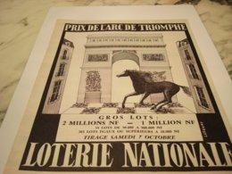 ANCIENNE PUBLICITE PRIX DE L ARC DE TRIUMPHE  LOTERIE NATIONNAL 1961 - Pubblicitari