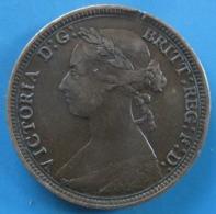 "ROYAUME-UNI, 1/2 Penny Victoria ""Bun Head"" 1888, TTB - 1816-1901 : Coniature XIX° S."