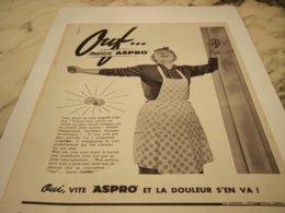 ANCIENNE PUBLICITE TRAVAIL MENAGER OUF MERCI ASPRO 1957 - Pubblicitari
