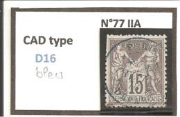 Y&T N°77  CLASSIQUE - 1876-1898 Sage (Type II)