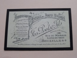 Jos POELS & Fils - 39 Rue Du MARAIS BRUXELLES ( Adm. Gén. Des Pompes Funèbres ) ( Voir / Zie Photos ) ! - Cartes De Visite