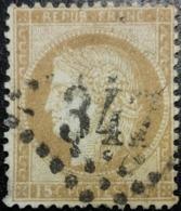 FRANCE Y&T N°55d Cérès 15c Bistre-orange. Oblitéré Losange G.C. N°347 Paris (Quartier Des Batignolles) - 1871-1875 Ceres